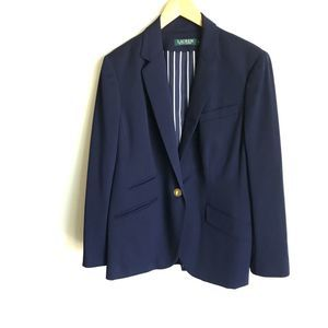 Ralph Lauren Boyfriend Jacket Blue Gold Buttons